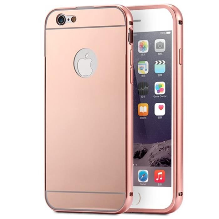 coque iphone 5c aluminium miroir coloris rose or etui