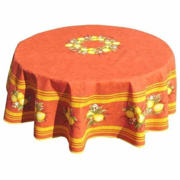 nappe ronde coton enduite citron orange 1m80 achat vente nappe de table cdiscount. Black Bedroom Furniture Sets. Home Design Ideas