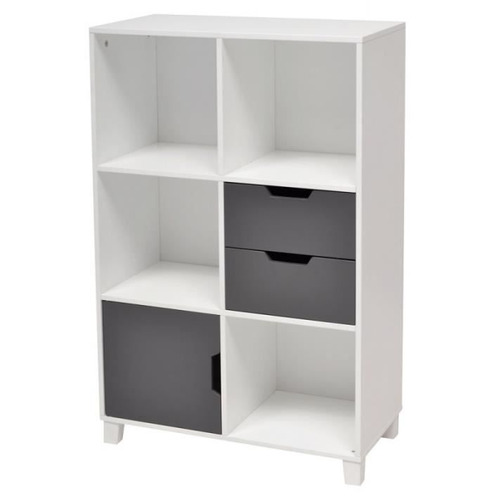 rangement de bureau 6 cases blanc gris topic achat. Black Bedroom Furniture Sets. Home Design Ideas