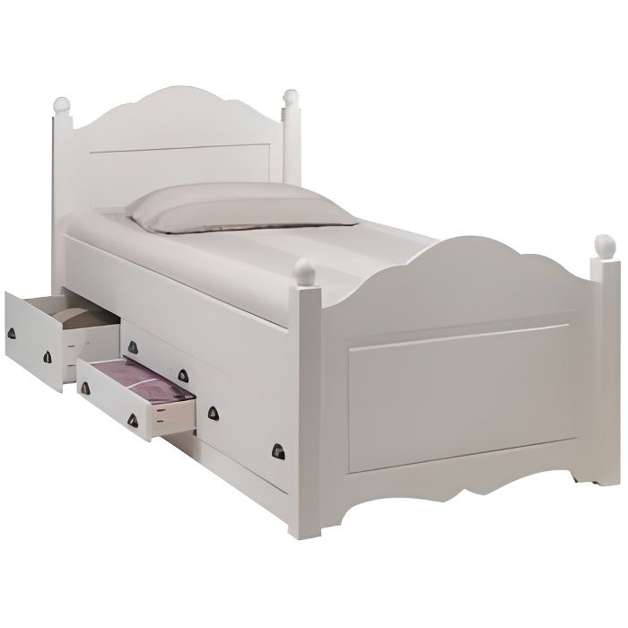 lit enfant blanc 4 tiroirs 90 x 190 avec sommier achat. Black Bedroom Furniture Sets. Home Design Ideas