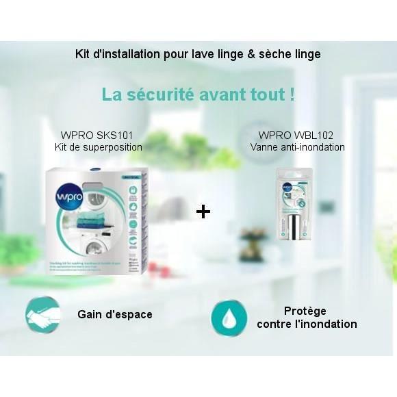 PIÈCE LAVAGE-SÉCHAGE  Pack Kit d'installation - Kit de superposition + V