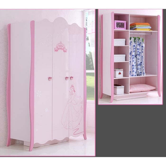 armoire chambre enfant princesse rose achat vente armoire de chambre armoire chambre. Black Bedroom Furniture Sets. Home Design Ideas