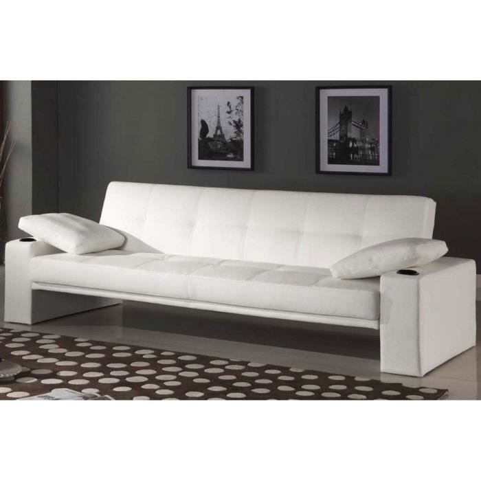 banquette lit clic clac pilot blanc achat vente clic clac cdiscount. Black Bedroom Furniture Sets. Home Design Ideas