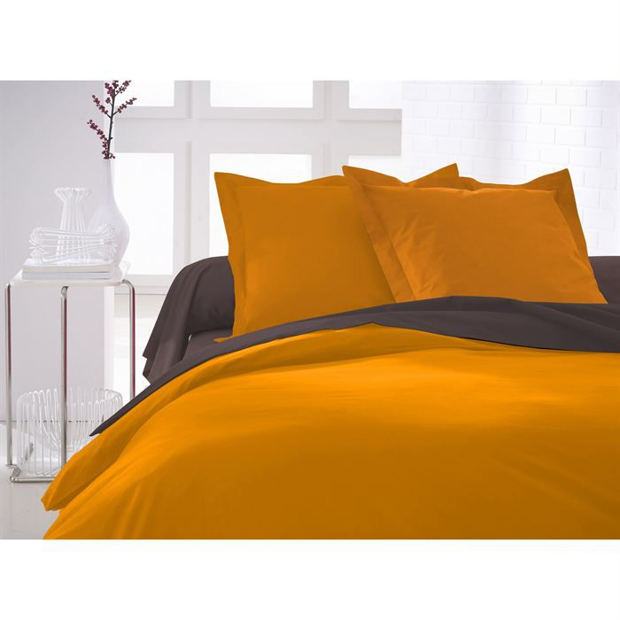 Housse de couette 220x240 vendange d 39 orange achat for Housse de couette orange