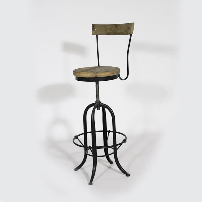 tabouret de bar en bois et metal avec dossier a achat vente tabouret de bar cdiscount. Black Bedroom Furniture Sets. Home Design Ideas