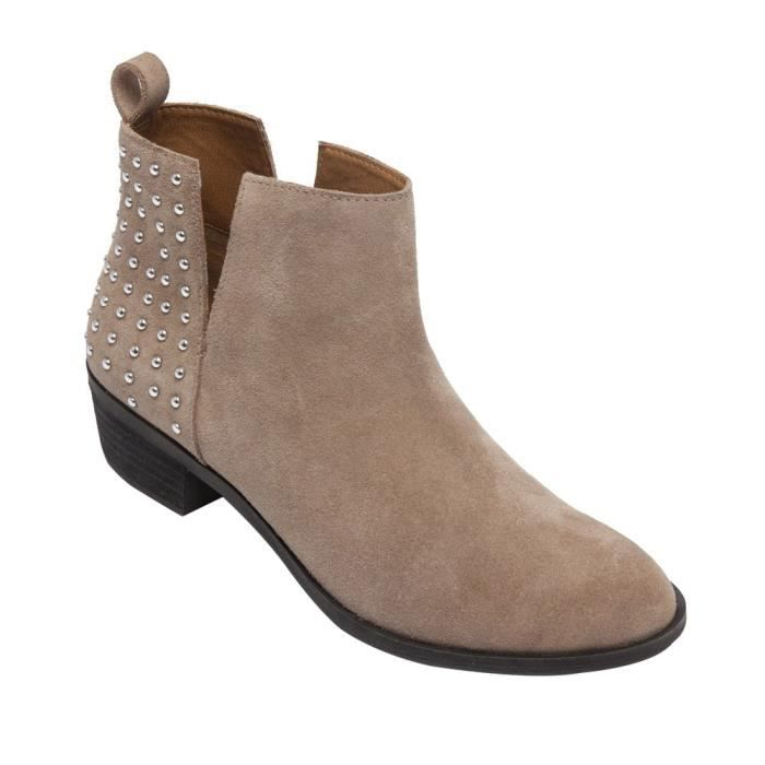 Claire - Studded Ankle Boots - Western Suede Leather Low Stacked Heel Bootie (new Fall) XAQ7D Taille-38 1-2 ebe9ei0