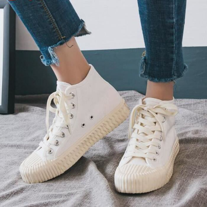Chaussures montantes Mode Blanc Chaussure Femme Basket Femme Toile