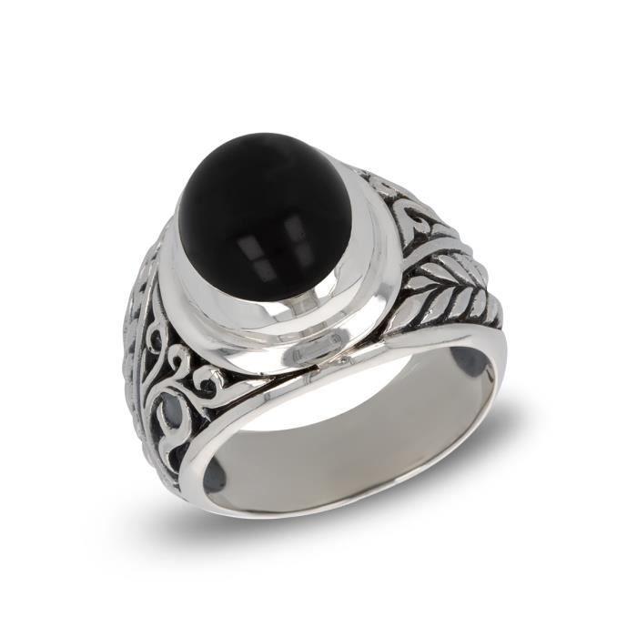 Anneau Véritable Argent Sterling 925 Noir Onyx Bijoux Cadeau face HAUTEUR 7 mm Taille 8