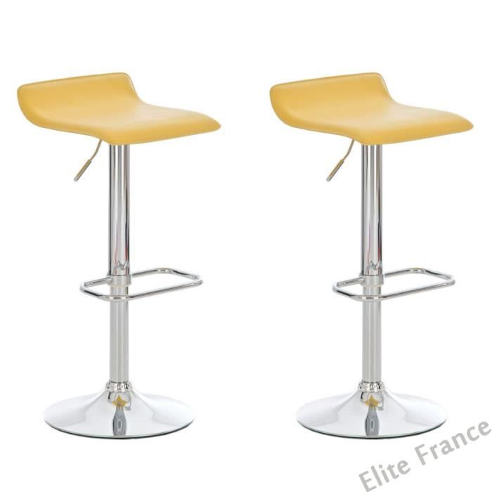 lot de 2 tabourets de bar jaune pivotant et r glable en. Black Bedroom Furniture Sets. Home Design Ideas