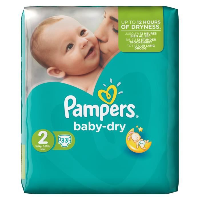 pampers baby dry taille 2 3 6kg 33 couches blanc achat. Black Bedroom Furniture Sets. Home Design Ideas