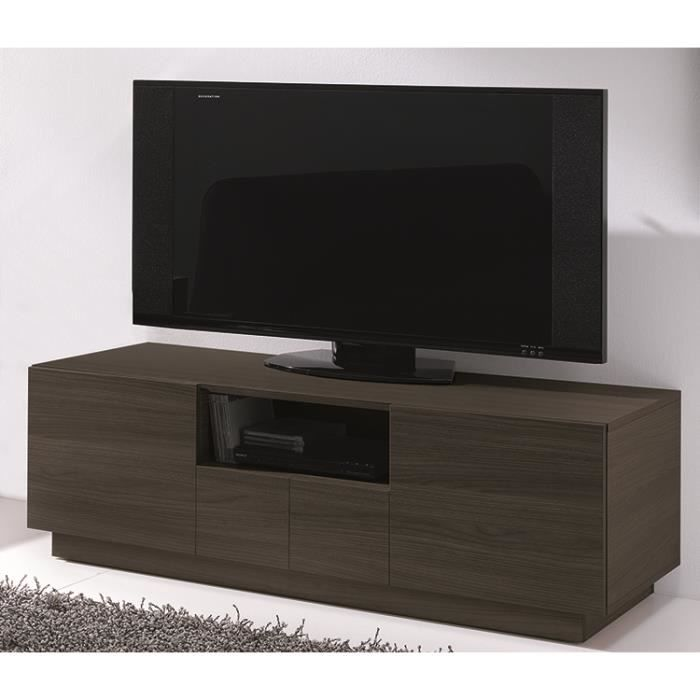 meuble tv coloris ch ne fonc l120 x h42 5 x p45 6 cm livr mont achat vente meuble tv. Black Bedroom Furniture Sets. Home Design Ideas