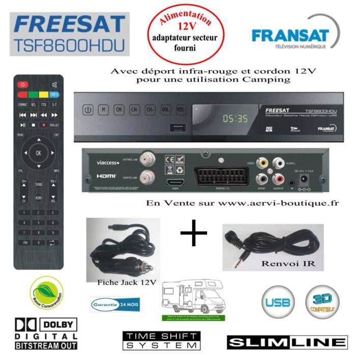 r cepteur fransat hd avec renvoi if et jack 12 v. Black Bedroom Furniture Sets. Home Design Ideas
