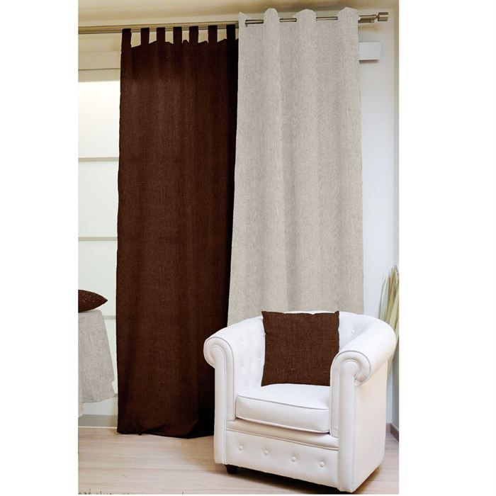 rideau pattes lina chocolat achat vente rideau voilage 100 polyester cdiscount. Black Bedroom Furniture Sets. Home Design Ideas