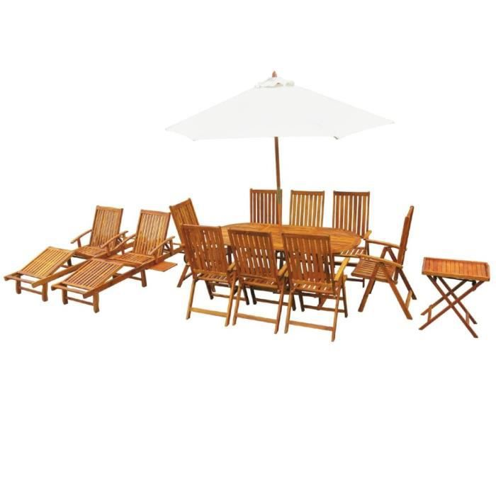 Festnight 13 pcs Salon de Jardin en Bois d\'acacia Massif 1 Table Ovale, 8  Chaises Pliable , 2 Chaises, 1 Table à Thé et 1 Parasol.