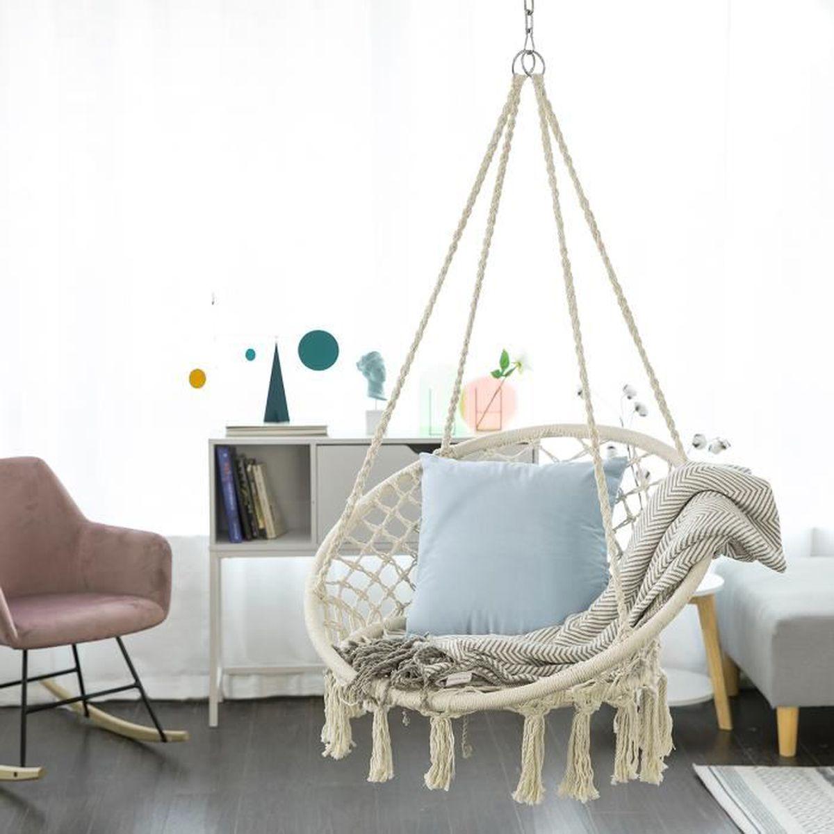 Fauteuil Suspendu D Exterieur sobuy® ogs42-mi chaise suspendue à franges en corde de coton, hamac  suspendu macramé, fauteuil balançoire intérieur extérieur
