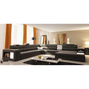 CANAPÉ - SOFA - DIVAN Grand canapé d'angle panoramique en cuir gris et b