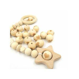 Perles Perles en bois naturel coeur 20mm