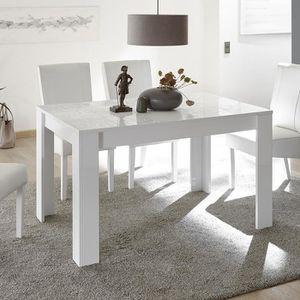 TABLE À MANGER SEULE Table de repas blanc laqué design 140 cm ELMA  Ave