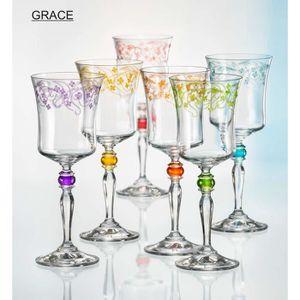 VIN ROUGE Verres à vin Bohemia Cristal GRACE 250 ml, 6 sets,