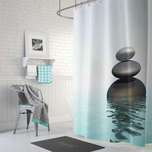 RIDEAU DE DOUCHE Rideau de douche zen pierres créatives sur l'eau e