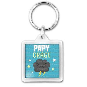 PORTE-CLÉS Porte-Clés Carré Plastique Papy Orage - Tonnerre F