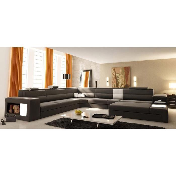 Grand canapé d'angle panoramique en cuir gris et blanc