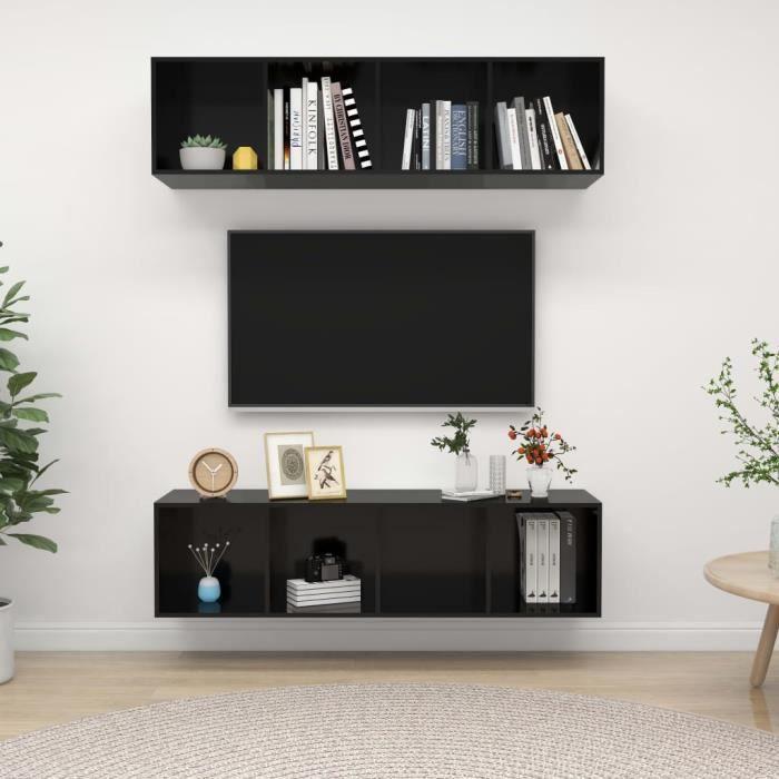 Unique Meubles TV muraux 2 pcs Ensemble de meuble TV mural Armoire HiFi Noir brillant Aggloméré 8302