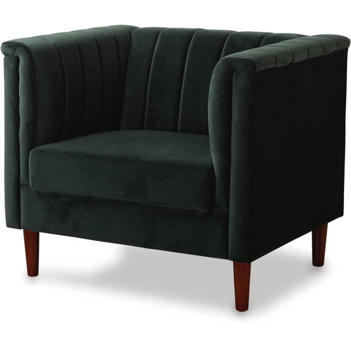Fauteuil en velours -Ellison- - 97 x 76 x 82 cm - 1 place - Vert foncé
