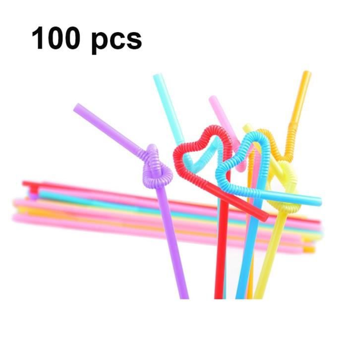100pieces -UPORS paille Flexible en plastique, paille colorée Extra longue en plastique jetable pour Cocktail, pour fête, en PP, 100