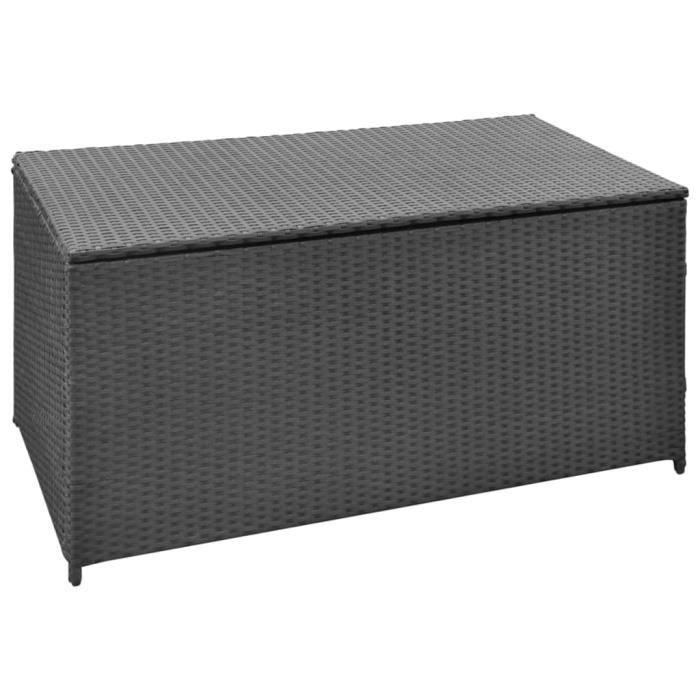 Boîte de rangement de jardin Coffre de jardin Noir 120x50x60 cm Résine tressée