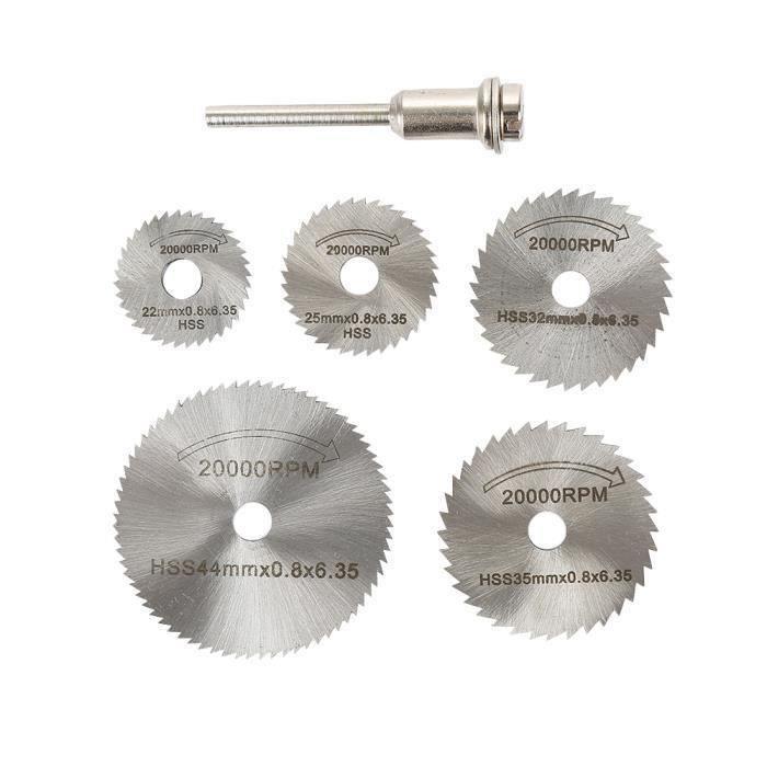 6pcs - set circulaire en métal HSS Lame de scie à grande vitesse en acier du bois de coupe Disques pour Dremel Outil rotatif b03750