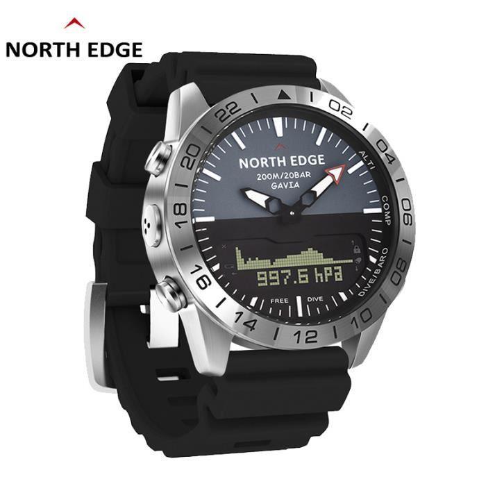 B North Edge GAVIA 2 montres pour hommes d'affaires de luxe en acier complet étanche 200 m altimètre boussole plongée sport numériqu