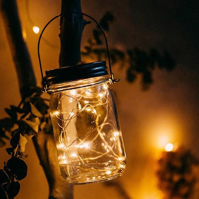 Eclairage De Meuble Pot Mason En Verre Solaire Extérieur Avec Panneau Et Led Intégrés Pour Allumer Ye Lpp80703945Ye