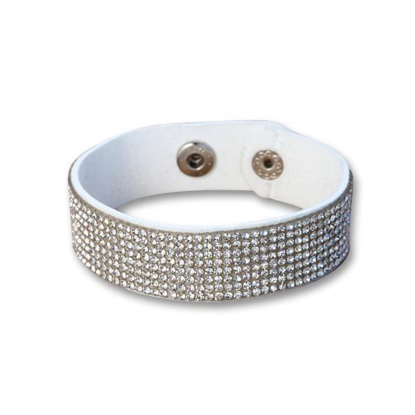 Bracelet Cuir Blanc et Cristaux Blancs de Swarovski Elements