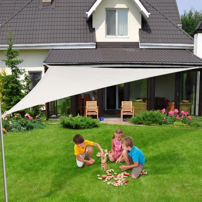 Voile Ombrage 3x3x3 m - Blanc - Triangulaire matière imperméable - Lavable en Machine - Densité 160g - m² - Toile Tendue