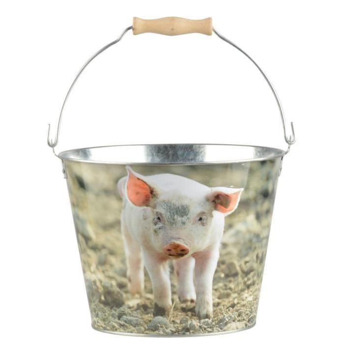 Seau Cochon en zinc et bois