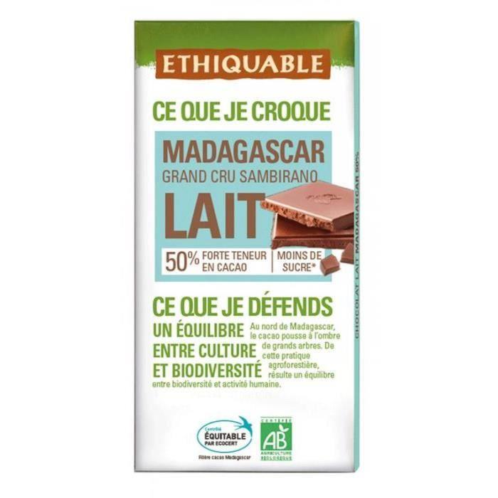 ETHIQUABLE Chocolat au lait 50% de Madagascar - Bio - 100g
