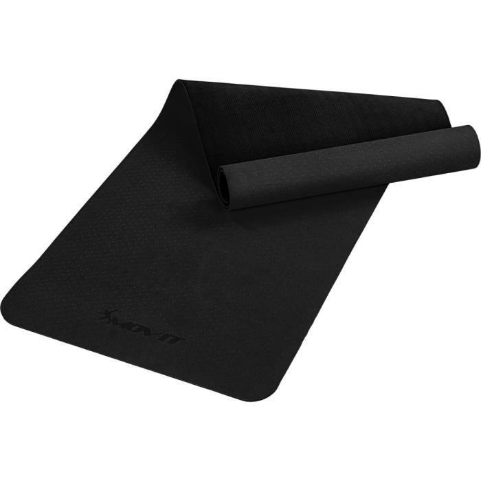 MOVIT Tapis de gymnastique TPE, tapis de pilates, tapis d'exercice premium, tapis de yoga, 190 x 60 x 0,6 cm, noir