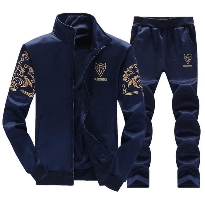 Hommes Automne Hiver Épaissir Sweat Top Pantalon Ensembles Survêtement De Sport Bleu Bleu