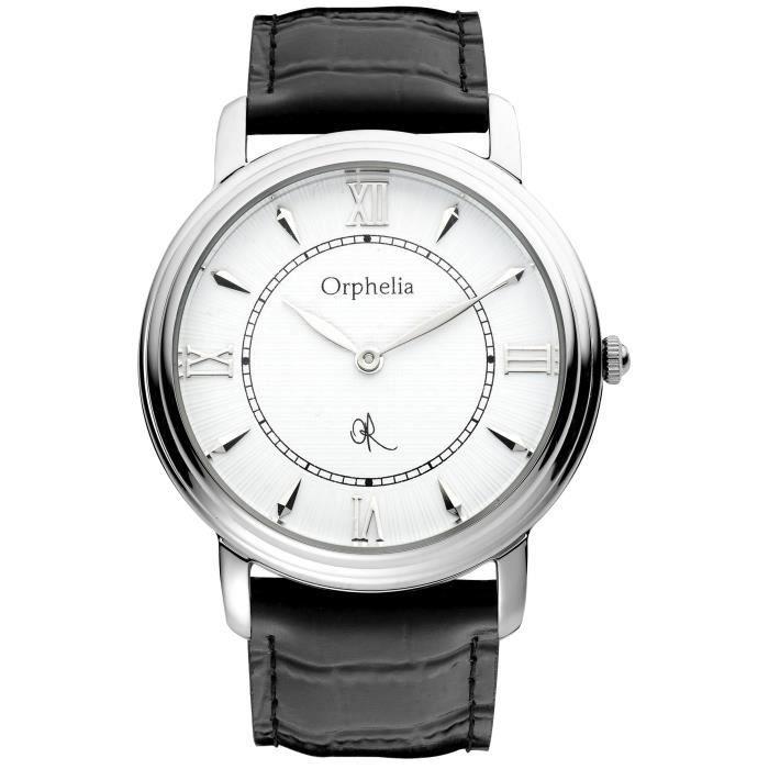 ORPHELIA - Montre Homme - Quartz Analogique - Bracelet Cuir Noir - 155-6701-14