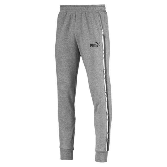 PUMA Tape, Pantalon de survêtement, Gris, S, Athlétique, Training & gym, Drawstring closure