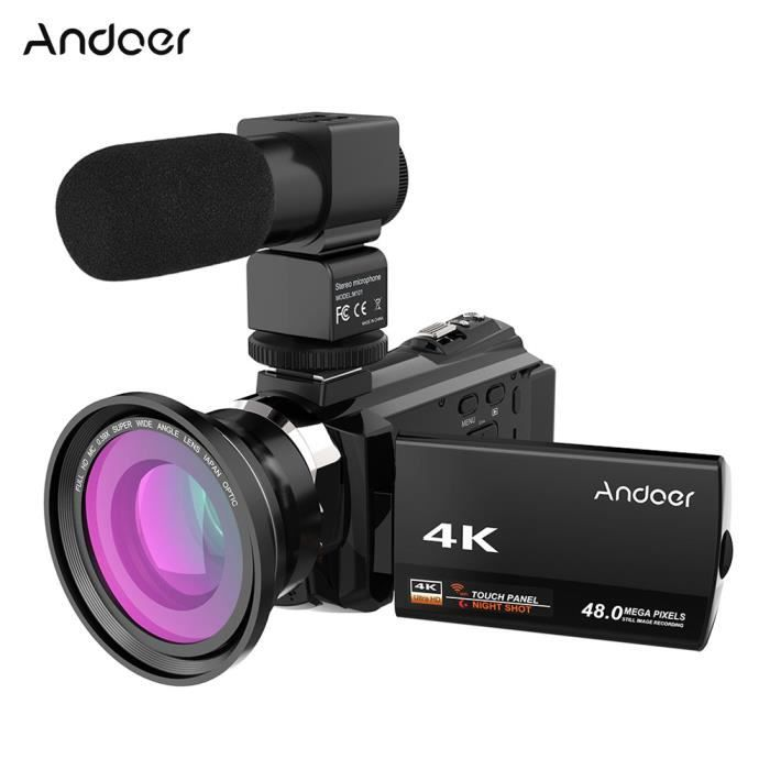 Andoer 4K 1080P 48MP WiFi Caméra Vidéo Numérique+0.39X Grand Angle Macro Lens Externe Mic Novatek 96660 Chip IR 16X Digital Zoom