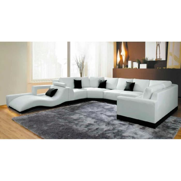 canap panoramique cuir blanc avec m ridienne achat vente canap sofa divan cuir bois. Black Bedroom Furniture Sets. Home Design Ideas