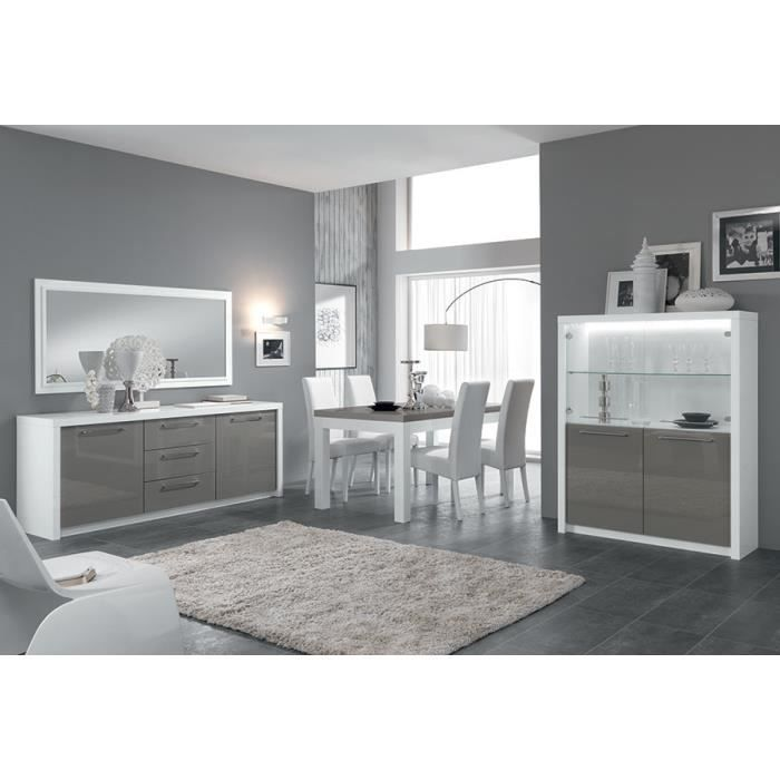 salle manger compl te blanc et gris laqu design lydia l 190 cm achat vente salle manger. Black Bedroom Furniture Sets. Home Design Ideas
