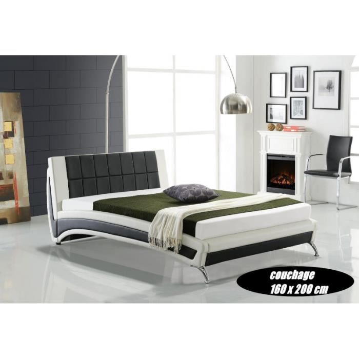 lit ika 160x200 cm blanc et noir achat vente lit. Black Bedroom Furniture Sets. Home Design Ideas