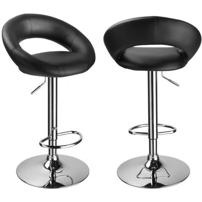 Lot de 2 tabourets de bar rembourr simili cuir design - Tabourets de bar soldes ...