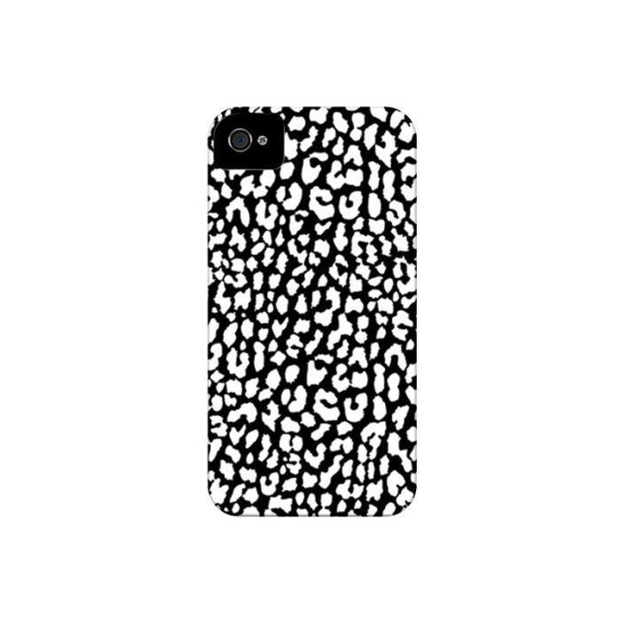 Coque iPhone 4 et 4S Leopard Noir et Blanc - Mary