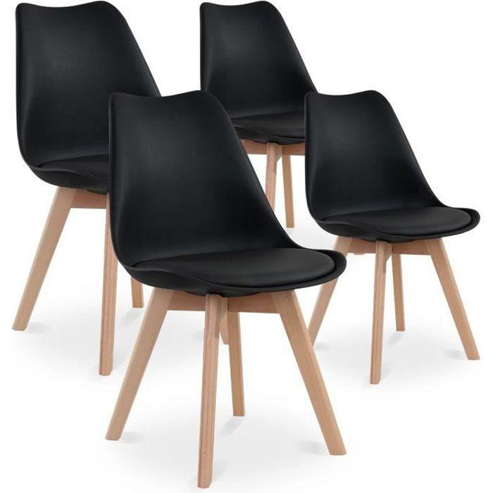 Lot De 4 Chaises Style Scandinave Catherina Noir Achat Vente Chaise Polypropylene Et Bois Cdiscount