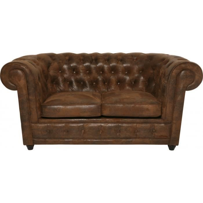 Canap chesterfield vintage 2 places achat vente canap sofa divan - Canape chesterfield 2 places ...
