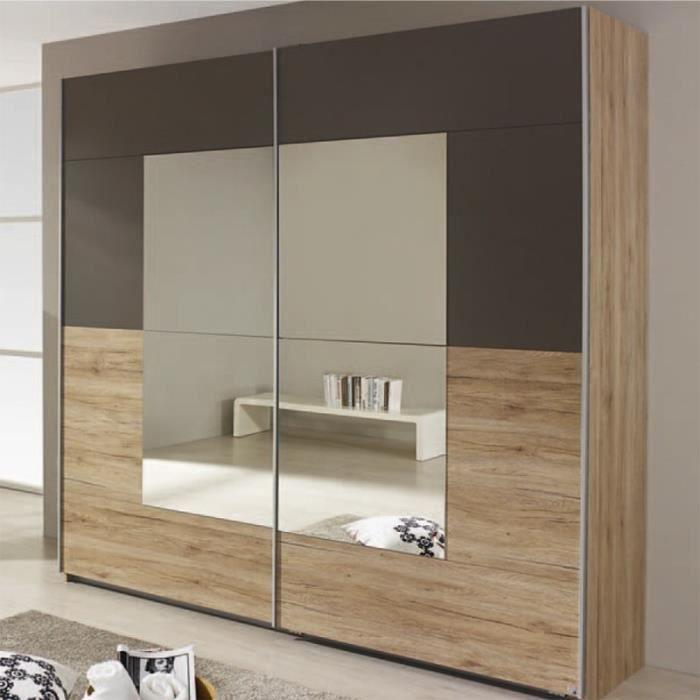 Crato Armoire De Rangement 2 Portes Coulissantes 2 Miroirs Decor Papier Imitation Chene Sonoma Gris Lave 175x210x59cm